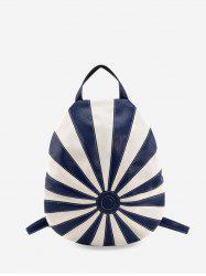 Striped Jointed Leather Casual Backpack -