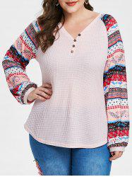 Plus Size Printed V Neck Button T Shirt -