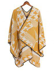 Geometric Houndstooth Pattern Split Shawl -