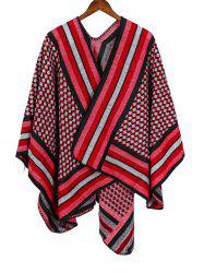 Rhombus Striped Open Front Poncho Cape -