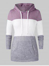 Plus Size Color-blocking Kangaroo Pocket Drawstring Knit Hoodie -