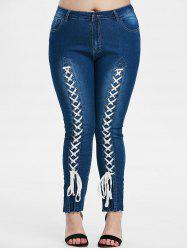 Plus Size Lace-up Front High Waisted Tapered Jeans -