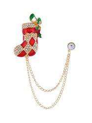 Christmas Stocking Hat Bell Chain Brooch -