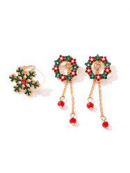Christmas Floral Circle Earrings And Snowflake Ring Set -