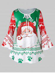 Plus Size Christmas Flare Sleeve Santa Claus Print Dress -