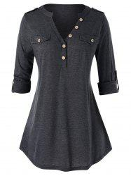 Plus Size Buttons Roll Up Sleeve Heathered T Shirt -
