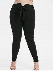 Plus Size Knot Front High Waisted Tapered Pants -