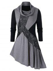 Plus Size Lace Panel Cowl Neck Asymmetrical Tunic Tee -