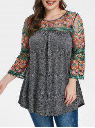 Plus Size Sheer Mesh Embroidered Heathered T Shirt -