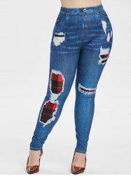 Plus Size 3D Destroyed Print Plaid Skinny Jeggings -