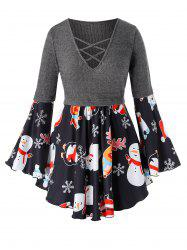 Plus Size Christmas Bell Sleeve Snowman Elk Print Top -