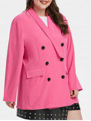 Plus Size Double Breasted Shawl Collar Blazer -