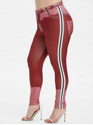 Plus Size Side Striped High Waisted Skinny Jeggings -