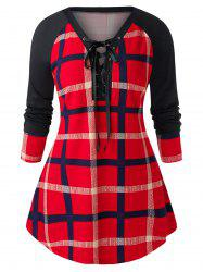 Plus Size Raglan Sleeve Checked Tunic Sweatshirt -