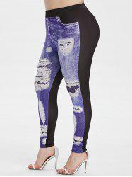 Plus Size 3D Ripped Print Skinny Jeggings -