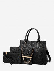 3 Piece Embossed Retro PU Leather Handbag Set -