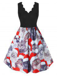Plus Size Christmas Scalloped Cat Print Dress -