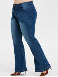 Mid Rise Frayed Hem Plus Size Flare Jeans -