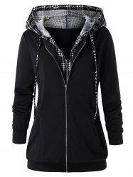 Plus Size Double Zipper Hooded Houndstooth Jacket -