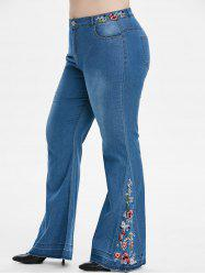 Plus Size Embroidered Flare Jeans -