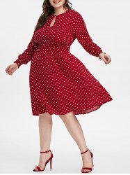 Keyhole Smocked Waisted Polka Dot Plus Size Dress -