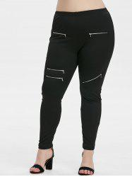 Plus Size Zippered High Rise Pants -