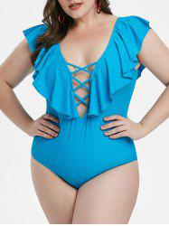 Plus Size Ruffle Lattice One-piece Swimsuit -