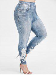 Plus Size Floral Applique 3D Print Jeggings -