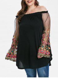 Plus Size Mesh Sleeve Embroidered Off Shoulder T-shirt -