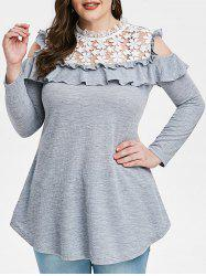 Plus Size Lace Insert Cold Shoulder Ruffle Ribbed T-shirt -