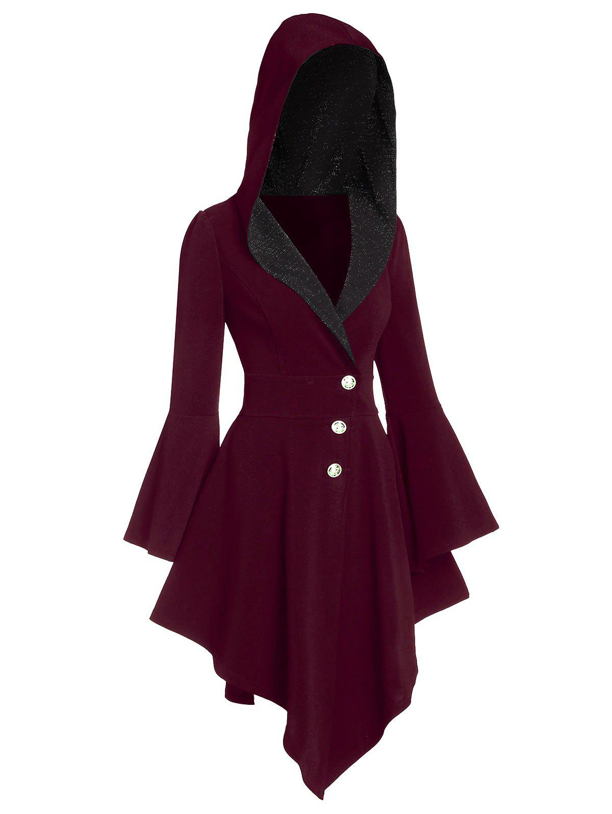 Discount Hooded Asymmetrical Glitter Coat