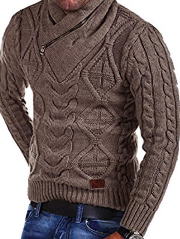 Fashion Cable Knit Zipper Turtleneck Sweater