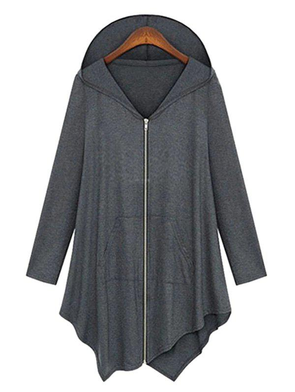 Plus Size Full Zip capuche manteau asymétrique
