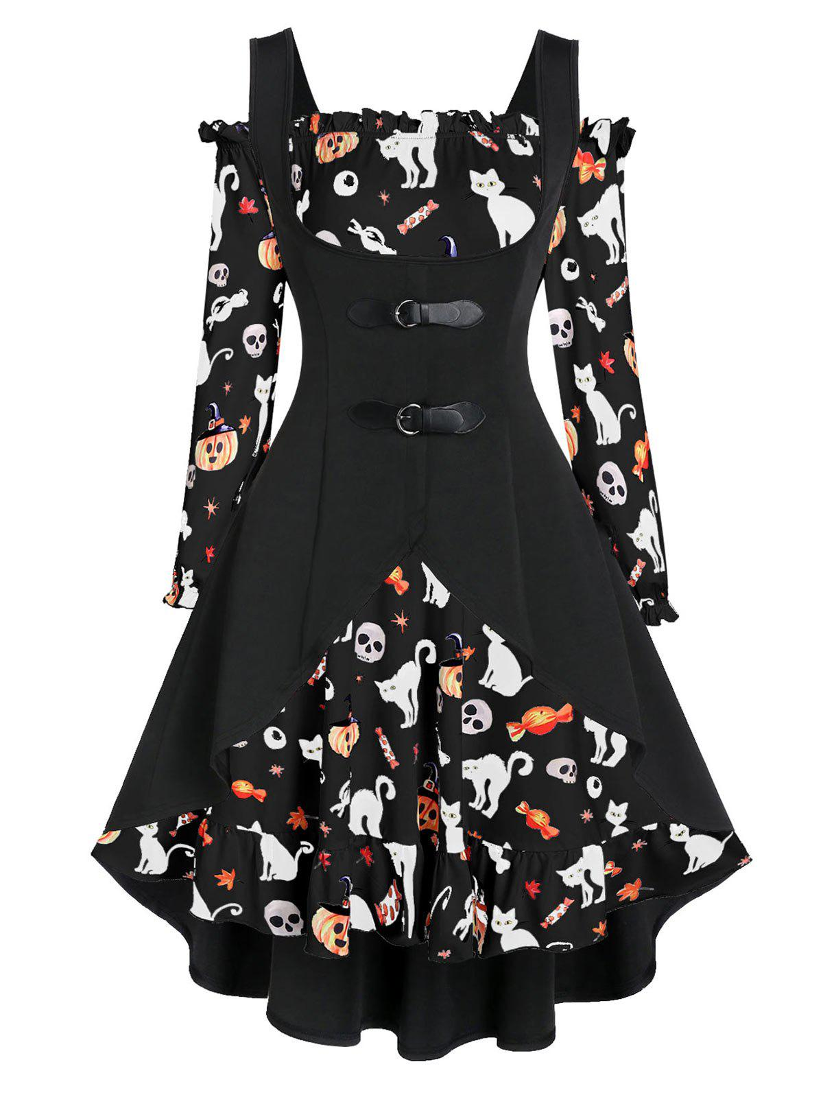 Hot Off The Shoulder Cat Skull Print Halloween Dress with Top