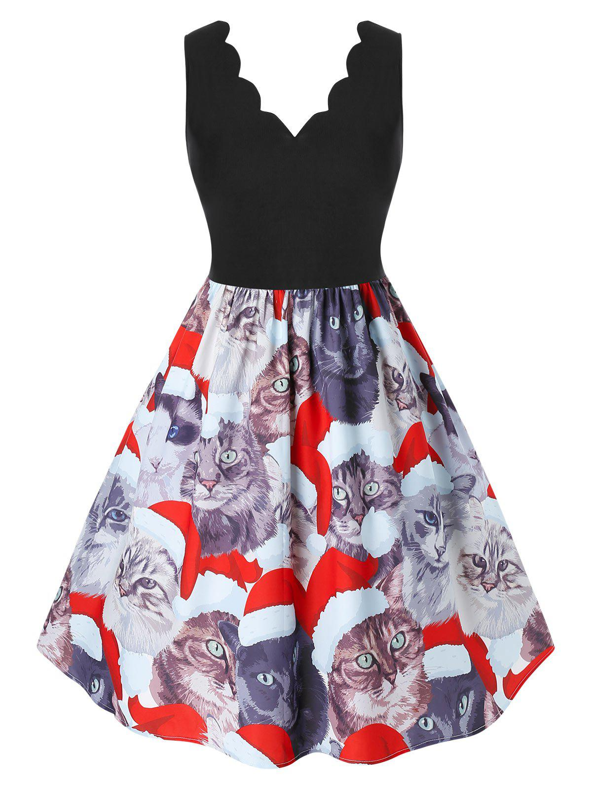 Chic Plus Size Christmas Scalloped Cat Print Dress