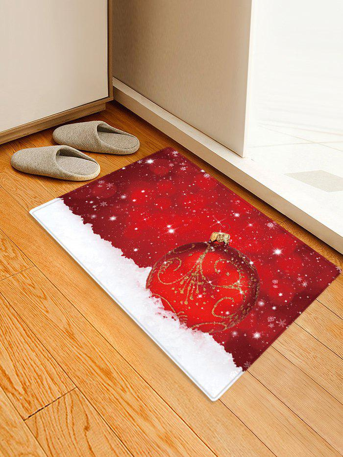 Trendy Christmas Ball Snowfield Pattern Water Absorption Area Rug