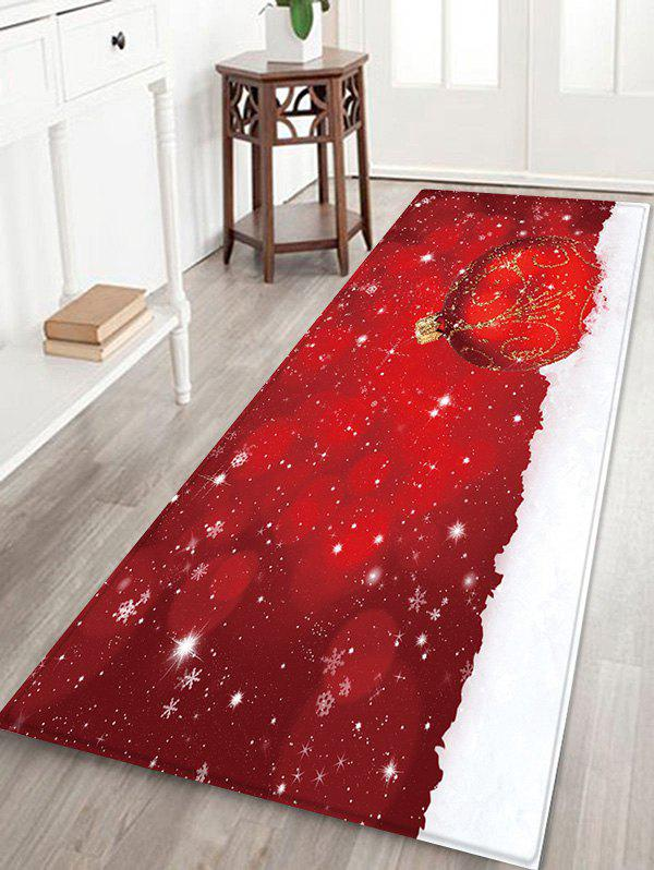 Fashion Christmas Ball Snowfield Pattern Water Absorption Area Rug