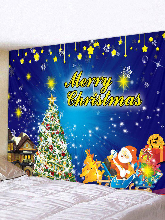 Best Christmas Tree Sleigh Print Tapestry Wall Hanging Art Decoration