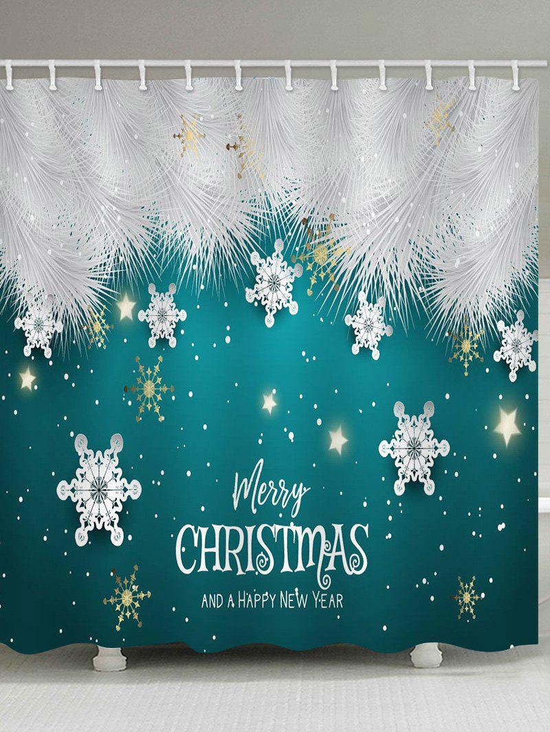 Latest Merry Christmas Snowflake Waterproof Bath Shower Curtain