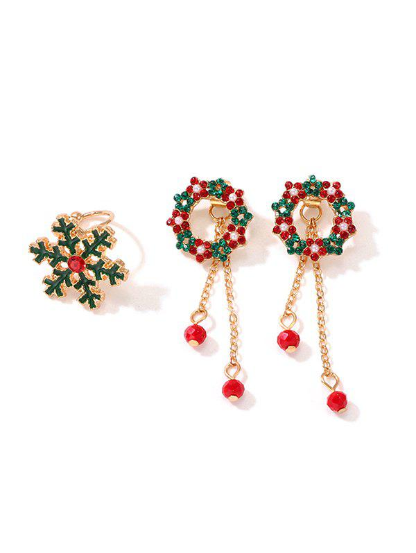 Cheap Christmas Floral Circle Earrings And Snowflake Ring Set