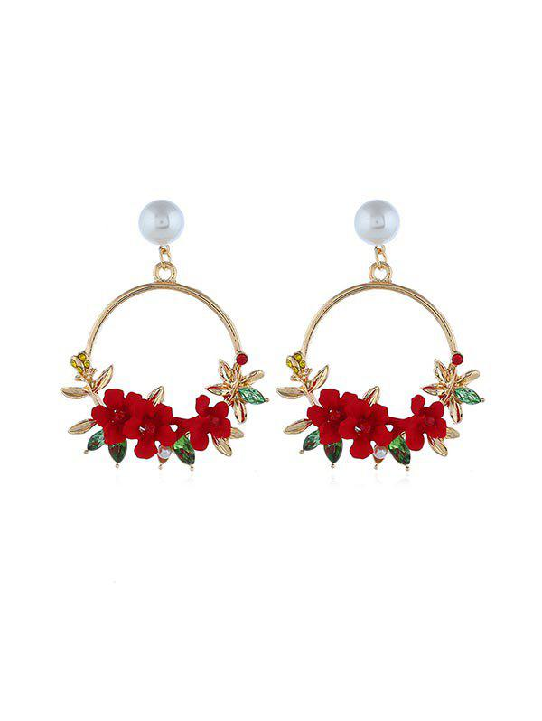 Online Rural Style Floral Circle Drop Earrings