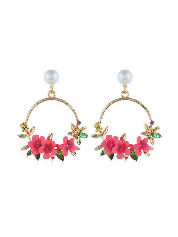 Discount Rural Style Floral Circle Drop Earrings