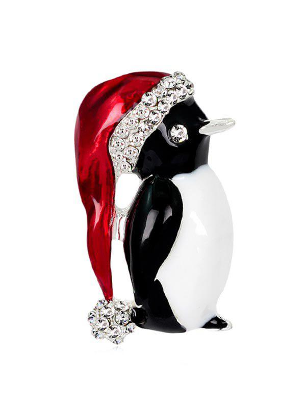 Store Christmas Santa Hat Penguin Brooch with Rhinestone