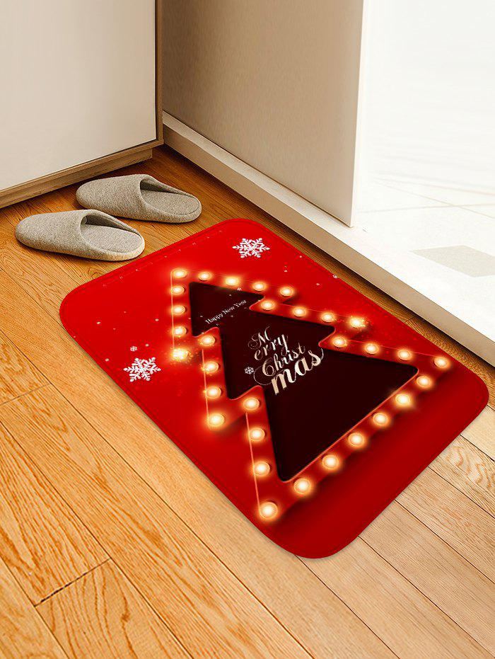 Fashion Christmas Tree Lights Greetings Pattern Water Absorption Area Rug