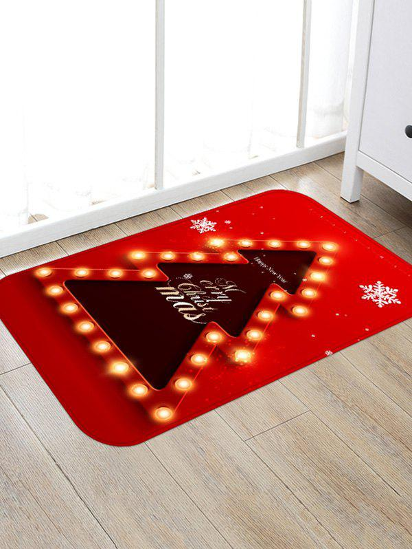 Unique Christmas Tree Lights Greetings Pattern Water Absorption Area Rug