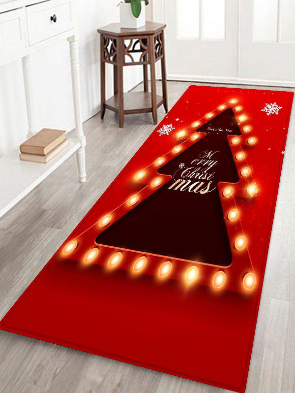 New Christmas Tree Lights Greetings Pattern Water Absorption Area Rug