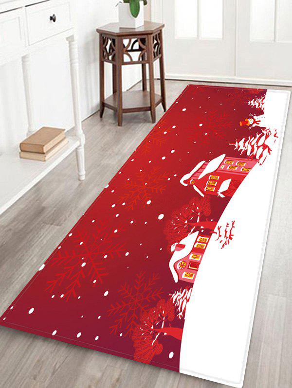 Trendy Christmas Tree Snowflake House Pattern Water Absorption Area Rug