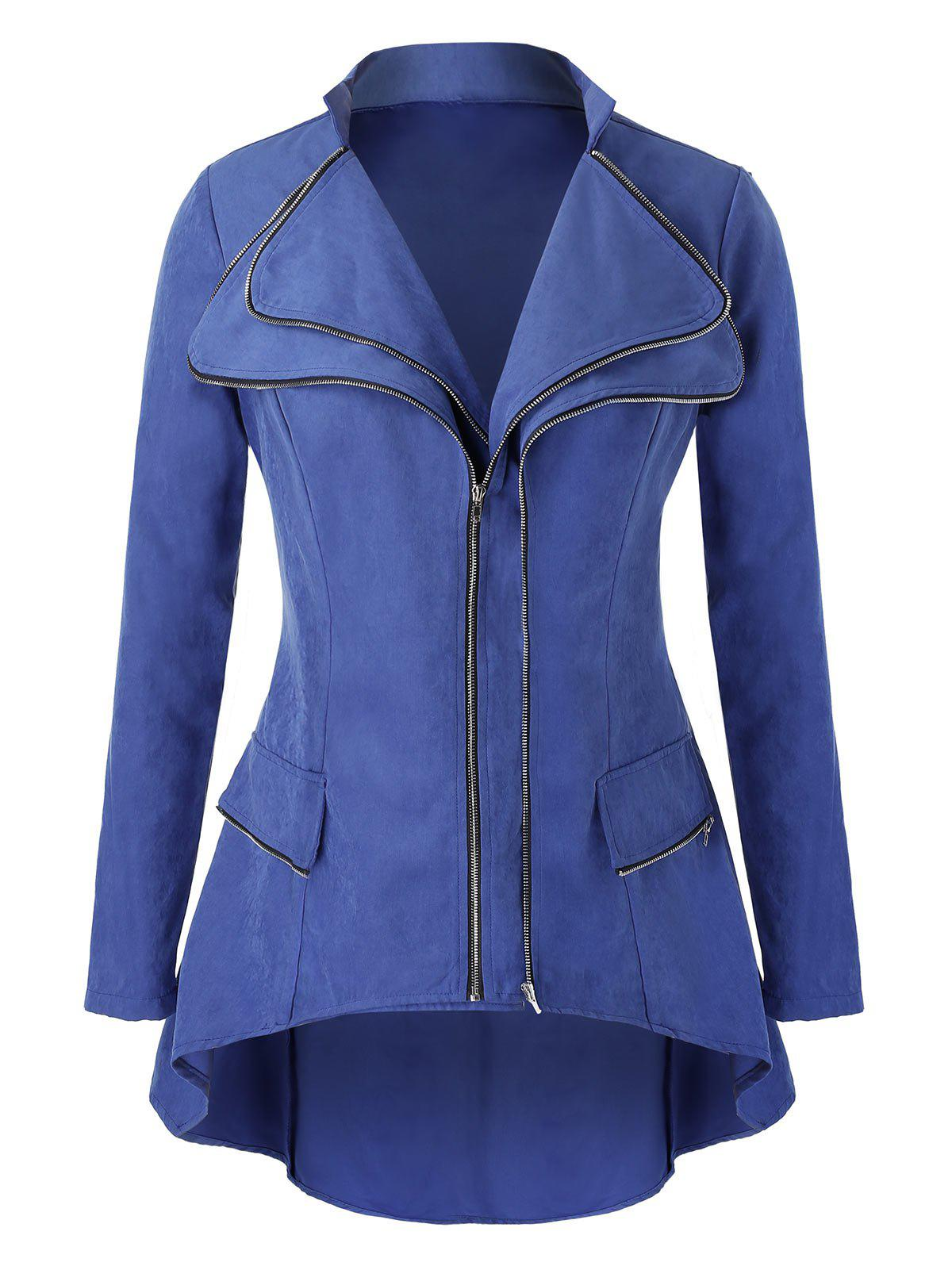Outfit Plus Size High Low  Double Zipper Jacket