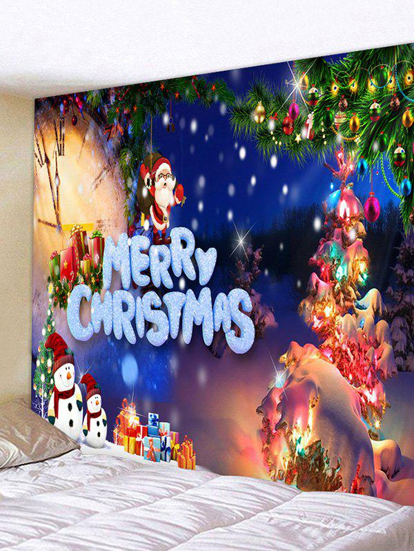 Online Christmas Tree Snowman Gifts Print Tapestry Wall Hanging Art Decoration