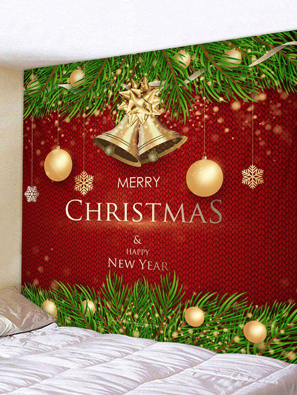 Fashion Christmas Balls Bells Greetings Print Tapestry Wall Hanging Art Decoration